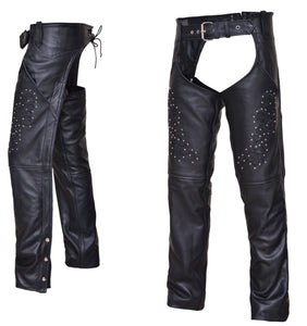 UNIK Ladies Premium Leather Motorcycle Chaps With Studs - SKU LL-7177-RF-UN - Leather Lollipop