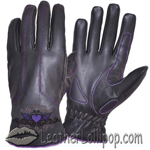 Ladies Full Finger Leather Motorcycle Riding Gloves With Purple Stitching - SKU LL-8144.17-UN