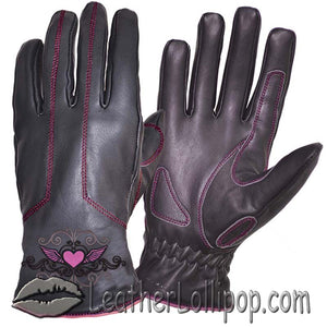 Ladies Full Finger Leather Motorcycle Riding Gloves With Hot Pink Stitching - SKU LL-8144.24-UN