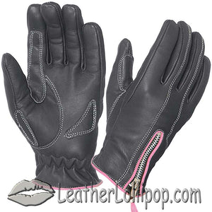 Ladies Full Finger Leather Motorcycle Riding Gloves With Hot Pink Piping - SKU LL-8261.24-UN - Leather Lollipop