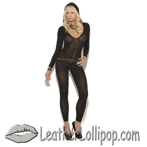 Ladies Black Bodystocking - SKU LL-8802-EML