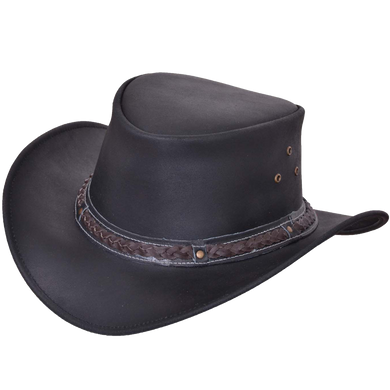 UNIK Black Leather Outback Hats - SKU LL-9212-00-UN - Leather Lollipop