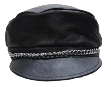 Leather Cap with Chain - SKU LL-AC008-DL