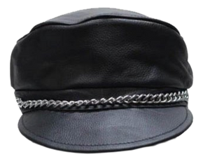 Leather Cap with Chain - SKU LL-AC008-DL - Leather Lollipop