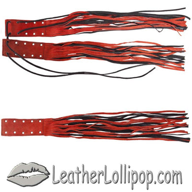 Orange and Black Brake - Clutch Lever Cover With Fringe - Motorcycle Accessories - SKU LL-AC100-DL - Leather Lollipop