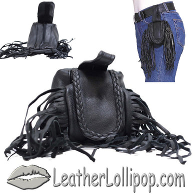 Ladies Leather Folding Pouch With Braid and Fringe - Belt Bag - SKU LL-AL1005-DL