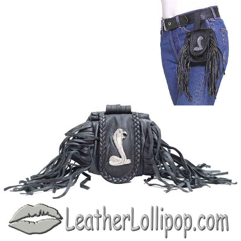 Ladies Leather Cobra Folding Pouch With Fringe - Belt Bag - SKU LL-AC1007-DL