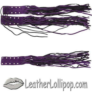 Purple and Black Brake - Clutch Lever Cover With Fringe - Motorcycle Accessories - SKU LL-AC102-DL - Leather Lollipop