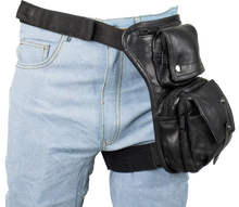 Black Leather Multi Pocket Thigh Bag with Gun Pocket - SKU LL-AC1025-11-DL