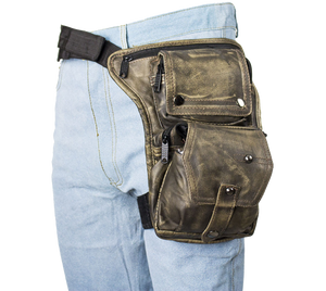 Distressed Brown Leather Multi Pocket Thigh Bag with Gun Pocket - SKU LL-AC1025-12-DL