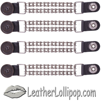 Set of Four Shotgun Shell Vest Extenders with Chrome Motorcycle Chain - SKU LL-AC1045-BC-DL - Leather Lollipop