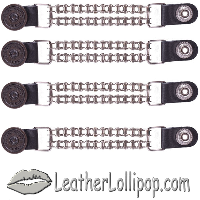 Set of Four Shotgun Shell Vest Extenders with Chrome Motorcycle Chain - SKU LL-AC1045-BC-DL