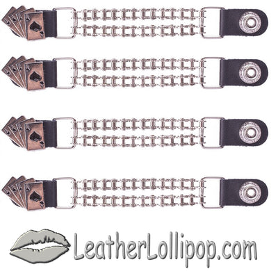Set of Four Deadmans Hand Vest Extenders with Chrome Motorcycle Chain - SKU LL-AC1046-BC-DL - Leather Lollipop