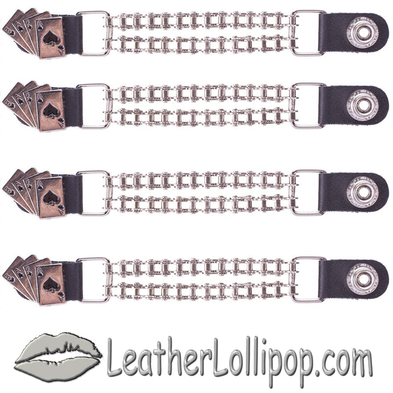 Set of Four Deadmans Hand Vest Extenders with Chrome Motorcycle Chain - SKU LL-AC1046-BC-DL