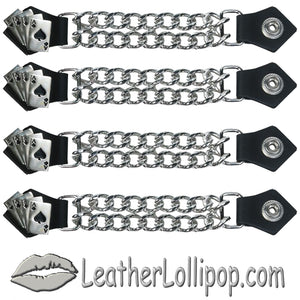 Set of Four Deadmans Hand Vest Extenders with Chrome Chain - SKU LL-AC1046-DL
