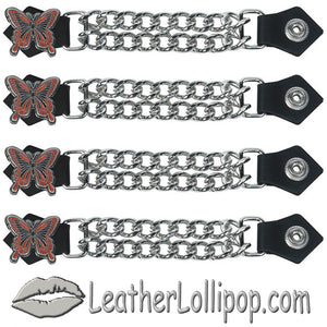 Set of Four Butterfly Vest Extenders with Chrome Chain - SKU LL-AC1048-DL - Leather Lollipop