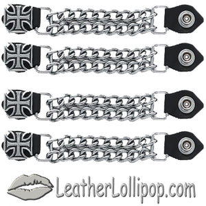 Set of Four Iron Cross Vest Extenders with Chrome Chain - SKU LL-AC1053-DL