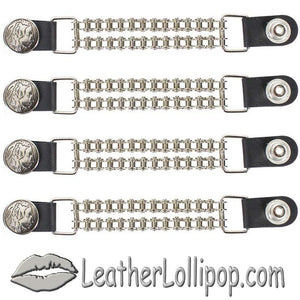 Set of Four Indian Head Nickel Vest Extenders with Chrome Motorcycle Chain - SKU LL-AC1054-BC-DL