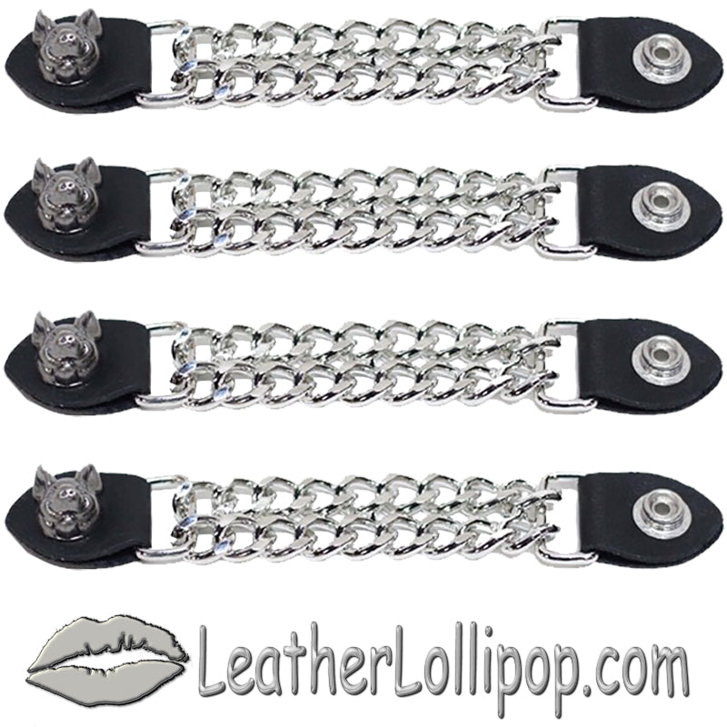 Set of Four Smiling Hog Vest Extenders with Chrome Chain - SKU LL-AC1055-DL
