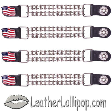 Set of Four USA Flag Vest Extenders with Chrome Motorcycle Chain - SKU LL-AC1058-BC-DL