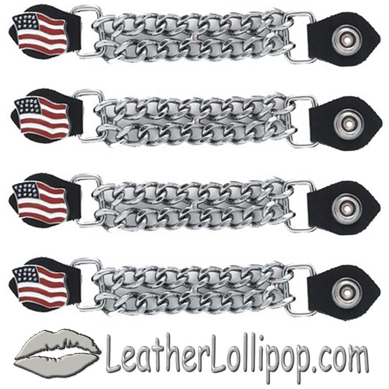 Set of Four USA Flag Vest Extenders with Chrome Chain - SKU LL-AC1058-DL - Leather Lollipop