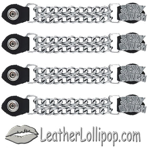 Set of Four Sexy Bitch Vest Extenders with Chrome Chain - SKU LL-AC1059-DL
