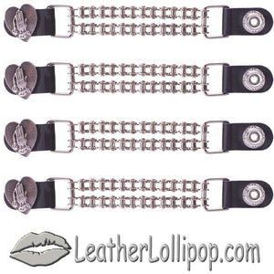 Set of Four Praying Hands Inside Heart Vest Extenders with Chrome Motorcycle Chain - SKU LL-AC1062-BC-DL - Leather Lollipop