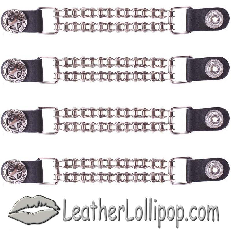 Set of Four Police Star Vest Extenders with Chrome Motorcycle Chain - SKU LL-AC1063-BC-DL - Leather Lollipop