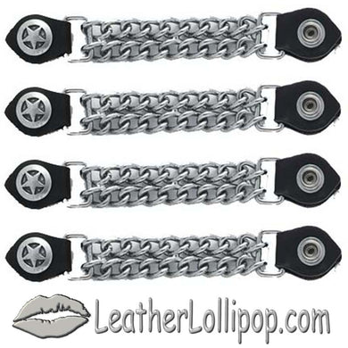 Set of Four Police Star Vest Extenders with Chrome Chain - SKU LL-AC1063-DL