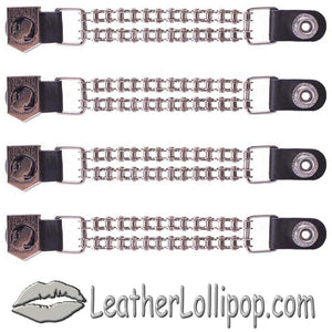 Set of Four POW MIA Vest Extenders with Chrome Motorcycle Chain - SKU LL-AC1065-BC-DL