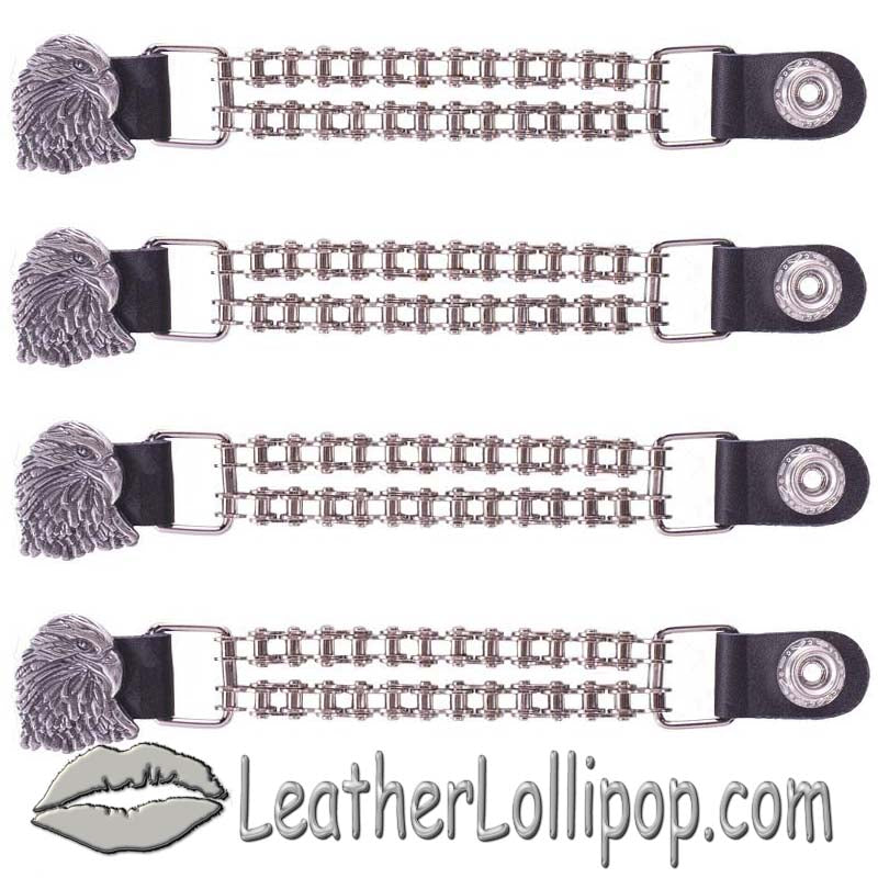 Set of Four Eagle Vest Extenders with Chrome Motorcycle Chain - SKU LL-AC1066-BC-DL - Leather Lollipop