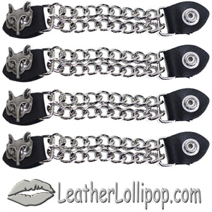 Set of Four Wolf Head Vest Extenders with Chrome Chain - SKU LL-AC1067-DL