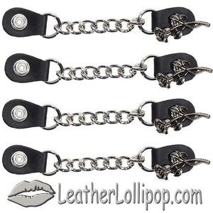 Set of Four Rose and Stem Vest Extenders with Single Chrome Chain - SKU LL-AC1070-LL-DL - Leather Lollipop