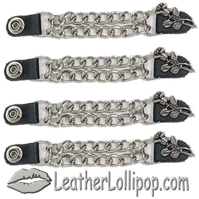 Set of Four Rose and Stem Vest Extenders with Chrome Chain - SKU LL-AC1070-DL