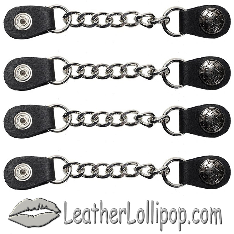 Set of Four Lady Liberty Silver Dime Vest Extenders with Single Chrome Chain - SKU LL-AC1073-LL-DL