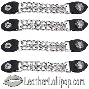Set of Four Lady Liberty Silver Dime Vest Extenders with Chrome Chain - SKU LL-AC1073-DL