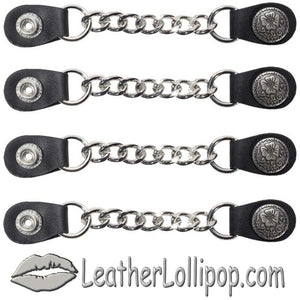 Set of Four Flower and Petals Vest Extenders with Single Chrome Chain - SKU LL-AC1076-LL-DL
