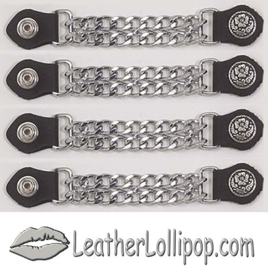 Set of Four Flower and Petals Vest Extenders with Chrome Chain - SKU LL-AC1076-DL