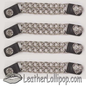 Set of Four Fancy Heart Vest Extenders with Chrome Chain - SKU LL-AC1078-DL - Leather Lollipop
