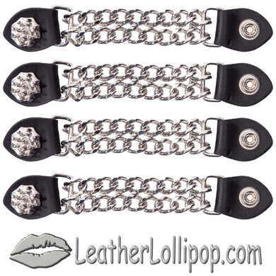 Set of Four Spike Design Vest Extenders with Chrome Chain - SKU LL-AC1081-DL - Leather Lollipop