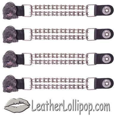 Set of Four Eagle With USA Flag Vest Extenders with Chrome Motorcycle Chain - SKU LL-AC1083-BC-DL - Leather Lollipop