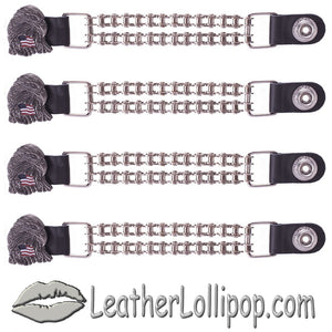 Set of Four Eagle With USA Flag Vest Extenders with Chrome Motorcycle Chain - SKU LL-AC1083-BC-DL