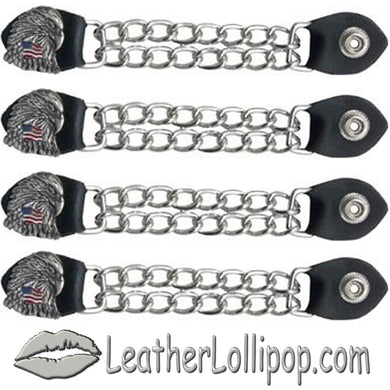 Set of Four Eagle With USA Flag Vest Extenders with Chrome Chain - SKU LL-AC1083-DL - Leather Lollipop