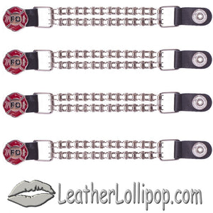 Set of Four Fire Department Vest Extenders with Chrome Motorcycle Chain - SKU LL-AC1097-BC-DL - Leather Lollipop