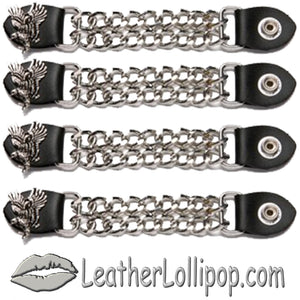 Set of Four Soaring Eagle Vest Extenders with Chrome Chain - SKU LL-AC1098-E-DL - Leather Lollipop