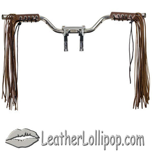 Two Tone Brown Leather HandleBar Covers With Fringe - Motorcycle Accessories - SKU LL-AC114-11-BRN3-DL - Leather Lollipop