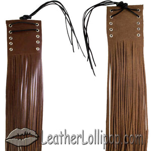 Two Tone Brown Leather HandleBar Covers With Fringe - Motorcycle Accessories - SKU LL-AC114-11-BRN3-DL
