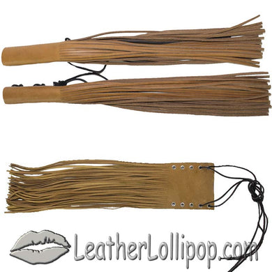 Tan Leather HandleBar Covers With Fringe - Motorcycle Accessories - SKU LL-AC114-11-TAN-DL - Leather Lollipop