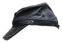 Leather Rebel Cap With Crossed Rifles and Adjustable Back - SKU LL-AC30-DL
