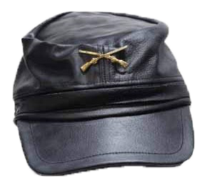 Leather Rebel Cap With Crossed Rifles and Adjustable Back - SKU LL-AC30-DL - Leather Lollipop